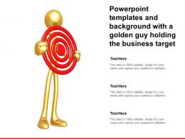 Powerpoint Templates And Background With A Golden Guy Holding The Business Target