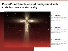 Powerpoint Templates And Background With Christian Cross In Starry Sky