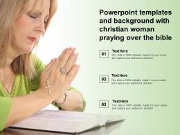 Powerpoint Templates And Background With Christian Woman Praying Over The Bible
