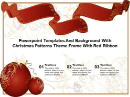Powerpoint Templates And Background With Christmas Patterns Theme Frame With Red Ribbon