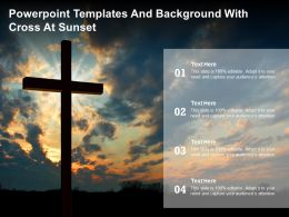 Powerpoint Templates And Background With Cross At Sunset
