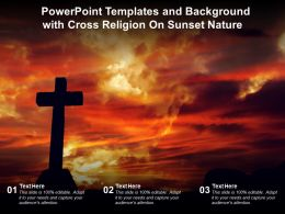 Powerpoint Templates And Background With Cross Religion On Sunset Nature