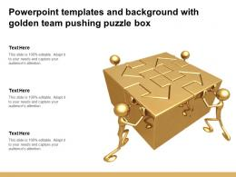 Powerpoint Templates And Background With Golden Team Pushing Puzzle Box