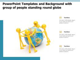 Powerpoint Templates And Background With Group Of People Standing Round Globe