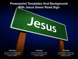 Powerpoint Templates And Background With Jesus Green Road Sign