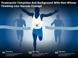 Powerpoint Templates And Background With Man Winner Finishing Line Success Concept