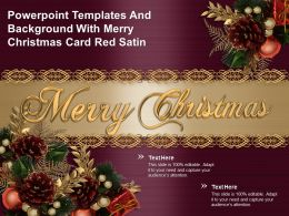 Powerpoint Templates And Background With Merry Christmas Card Red Satin