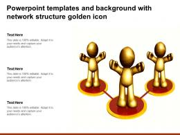 Powerpoint Templates And Background With Network Structure Golden Icon
