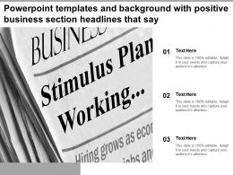 Powerpoint Templates And Background With Positive Business Section Headlines That Say
