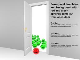 Powerpoint Templates And Background With Red And Green Spheres Come Out From Open Door