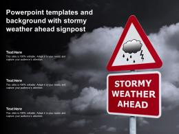 Powerpoint Templates And Background With Stormy Weather Ahead Signpost