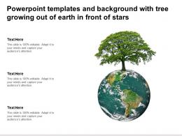 Powerpoint Templates And Background With Tree Growing Out Of Earth In Front Of Stars