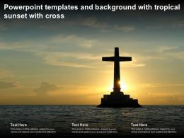 Powerpoint Templates And Background With Tropical Sunset With Cross