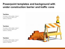 Powerpoint Templates And Background With Under Construction Barrier And Traffic Cone