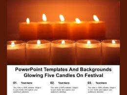 Powerpoint Templates And Backgrounds Glowing Five Candles On Festival