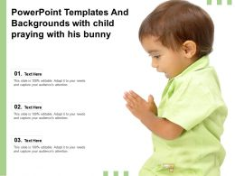 Powerpoint Templates And Backgrounds With Child Praying With His Bunny