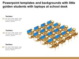Powerpoint Templates And Backgrounds With Little Golden Students With Laptops At School Desk