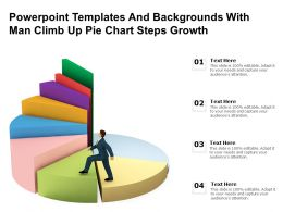 Powerpoint Templates And Backgrounds With Man Climb Up Pie Chart Steps Growth