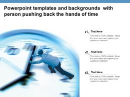 Powerpoint Templates And Backgrounds With Person Pushing Back The Hands Of Time