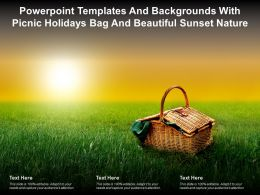 Powerpoint Templates And Backgrounds With Picnic Holidays Bag And Beautiful Sunset Nature