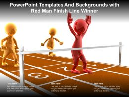 Powerpoint Templates And Backgrounds With Red Man Finish Line Winner
