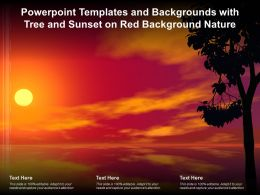 Powerpoint Templates And Backgrounds With Tree And Sunset On Red Background Nature