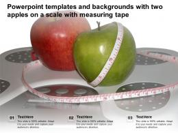 Powerpoint Templates And Backgrounds With Two Apples On A Scale With Measuring Tape