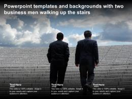 Powerpoint Templates And Backgrounds With Two Business Men Walking Up The Stairs