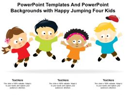 Powerpoint Templates And Powerpoint Backgrounds With Happy Jumping Four Kids
