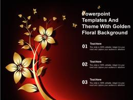 Powerpoint Templates And Theme With Golden Floral Background