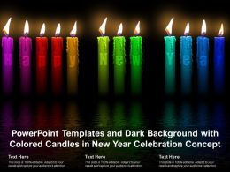 Powerpoint Templates Dark Background With Colored Candles In New Year Celebration Concept