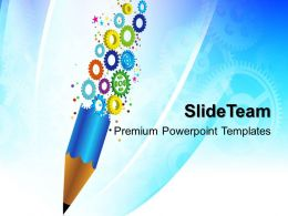 Powerpoint Templates For Education Gears And Pencil Business Ppt Backgrounds