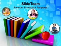 Powerpoint Templates For School Colorful Books Success Ppt Slides