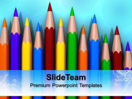 Powerpoint Templates For School Colorful Pencils Education Ppt Process
