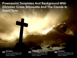 Powerpoint Templates With Christian Cross Silhouette And The Clouds In Sepia Tone