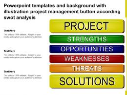 Powerpoint Templates With Illustration Project Management Button According Swot Analysis