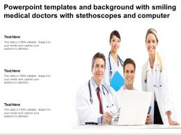 Powerpoint Templates With Smiling Medical Doctors With Stethoscopes And Computer