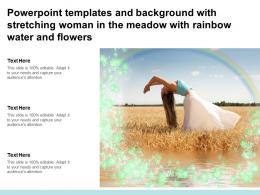 Powerpoint Templates With Stretching Woman In The Meadow With Rainbow Water And Flowers