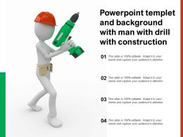 Powerpoint Templet And Background With Man With Drill With Construction