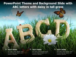 Powerpoint Theme And Background Slide With ABC Letters With Daisy In Tall Grass