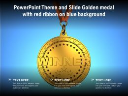 Powerpoint Theme And Slide Golden Medal With Red Ribbon On Blue Background