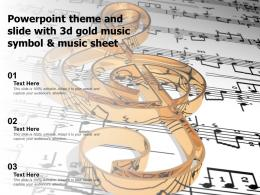 Powerpoint Theme And Slide With 3d Gold Music Symbol And Music Sheet