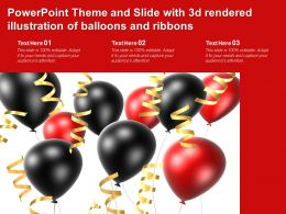 Powerpoint Theme And Slide With 3d Rendered Illustration Of Balloons And Ribbons