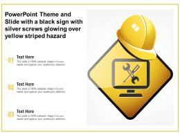 Powerpoint Theme And Slide With A Black Sign With Silver Screws Glowing Over Yellow Striped Hazard