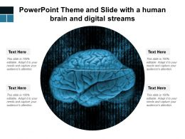 Powerpoint Theme And Slide With A Human Brain And Digital Streams