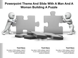 Powerpoint Theme And Slide With A Man And A Woman Building A Puzzle