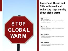 Powerpoint Theme And Slide With A Red And White Stop Sign Warning About Global Warm