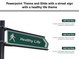 Powerpoint Theme And Slide With A Street Sign With A Healthy Life Theme