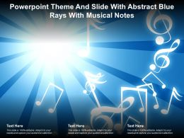 Powerpoint Theme And Slide With Abstract Blue Rays With Musical Notes