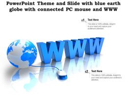 Powerpoint Theme And Slide With Blue Earth Globe With Connected PC Mouse And WWW